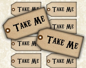 Take Me Tags No1 -  Digital Collage Sheet Printable Download Images Jewelry Holders Gift Tags Paper Scrapbook