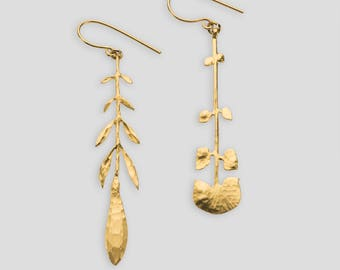 Gold plated sterling silver leaf earrings by Alice S - S17
