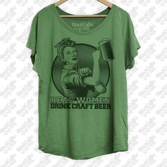 Womens St. Patricks Day Shirt- Craft Beer Shirt - Perfect Beer Shirt For St Patricks Day - Rosie The Riviter Hand Printed on a Womens Dolman