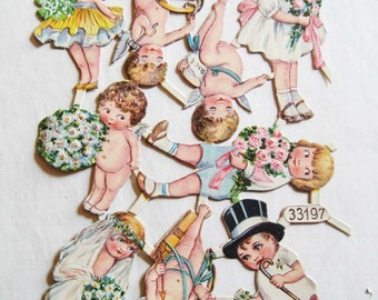 Vintage/Antique German Cherub Wedding Bride Groom Diecut Victorian Scrap