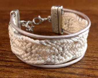 White and metallic silver bracelet created with a vintage, silk kumihimo obijime tie and leather cord