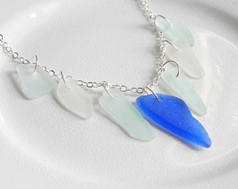 FRINGE Blue Sea Glass Bib Necklace - Chesapeake Bay Seaglass Jewelry, Authentic Beach Glass Statement Necklace