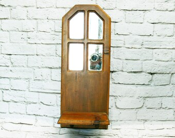 Vintage 70s Large Wood Window Frame Mirror Shelf Sconce Wall Art