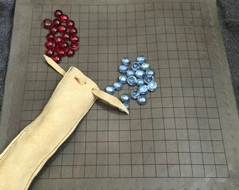 PENTE  Leather roll up board game. Carry and Go. Camping, Hiking, Backpack