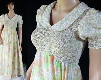 70s Candi Jones Dress, Hippie Boho Maxi, Patchwork, Smocked, Puffed Sleeves