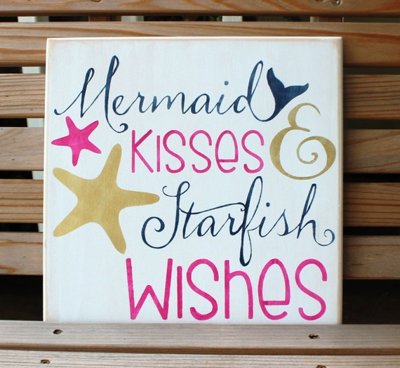 MERMAID KISSES and STARFISH Wishes - 12 x 12 - Painted Wooden Sign - Beach Decor - Mermaid Decor - Bathroom Decor - Hand Painted - Wood
