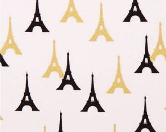 Eiffel Tower Black/Gold Fabric Quilting Crafting Home Decor