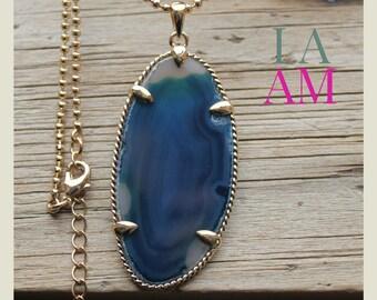 long pendant necklace - blue agate pendant, long necklace, long gold chain necklace, long jewelry