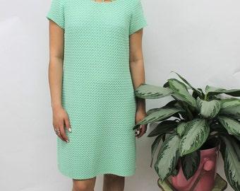 1960s Green Knitted Style Shift Dress Size UK 12, US 8, EU 40