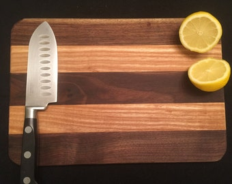 Wooden cutting board, walnut and cherry