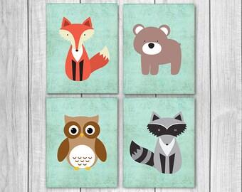 Woodland Nursery Decor (Set of Four 8x10s) - Fox Nursery Art, Bear, Owl, Raccoon, Nursery Wall Decor, Woodland Creatures