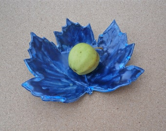 Blue leaf ceramic dish - Sycamore tapas dish - Pottery trinket holder - Handbuilt stoneware nibbles bowl - Catch all - Center piece