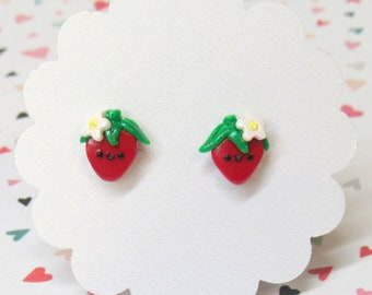 Kawaii Strawberry Earrings, Cute Earrings, Dainty Earrings, Berry Earrings, Food Earrings, Nickel Free Posts, Red Stud Earrings