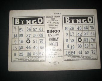 1 Large Sturdy Vintage Double Church  Bingo Card for Altered Art, Collage, etc.