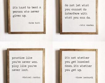Sports quote set of 4, sports decor, kids decor, motivational quotes