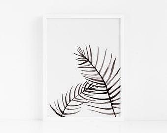 Tropical Handmade Painted FRAMED Leaf|Tropical Wall Art|Lounge Decor|Palm Leaf|Modern Art|Botanical Poster|Palm Leaf Print