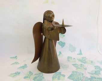 Large Brass and Copper Angel Candleholder