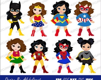 SVG files, Girls in superhero costume. SVG, Silhouette Cut Files, Cricut Cut Files -Personal and Commercial Use .