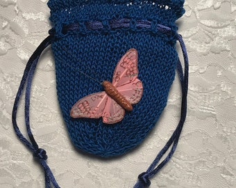 Delicate Butterfly Pouch, Butterfly, Any Occasion, Bridesmaid's Accessory, Quinceañera Accessory, Wedding Party, Pink, Royal Blue, (Medium)
