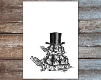 Turtle art, turtles with top hat - Turtle illustration - original illustration in black and white 8x10, 5x7