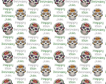 Personalised Candy Skulls Sugar Skulls Birthday Gift Wrap With Own Name