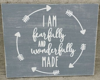 Bible verse, Psalms 139, I am fearfully and wonderfully made, wood sign, home decor, nursery decor, children