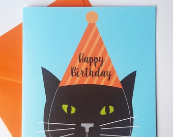 Black Cat Birthday Card - Black cat with party hat