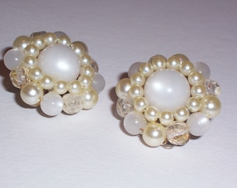 Vintage Earrings with White Faux Pearls and White Beads - Clip Ons