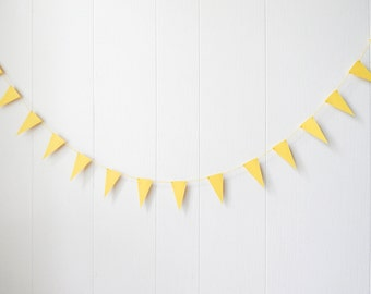 Yellow Bunting / Yellow Triangle Flag Garland / Nusery Decor / Lemonade Stand Decor /Photo Prop / Party Decor / Bunting / Holiday Decor