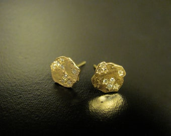 14k yellow gold earrings with 0.08ct' Diamonds. UNIQUE handmade stud earrings.Free shipping