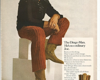 1970 Advertisement Joe Namath Dingo Boots 70s Mens Footwear Style Fashion Boots No Ordinary Celebrity Shoes Wall Art Decor