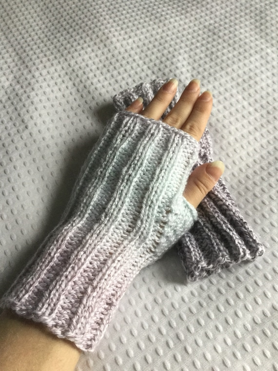 Gray and ice blue hand knit ribbed fingerless gloves variegated mix and match