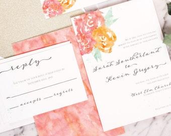 Aurie Wedding Invitation Suite - Watercolor Flowers, Script - Deposit