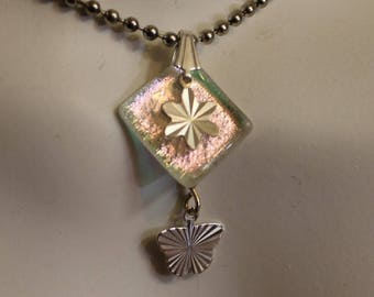 CLEARANCE - Pink flower and Butterfly pendant // Dichroic Glass