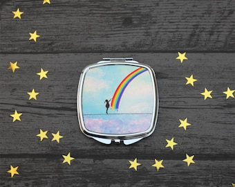 Little Rainbow Maker, Compact Mirror, Rainbow Mirror, Fantasy Art, Rainbow Gift, UK Seller.