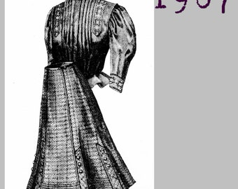 Blouse and Skirt for  11 to 13 year old girl -  Edwardian Reproduction PDF Pattern - 1900's - made from original 1907 pattern