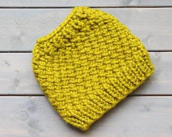 READY TO SHIP Messy Bun Hat, Knit Ponytail Hat, Running Headband, Running Hat, Lemongrass