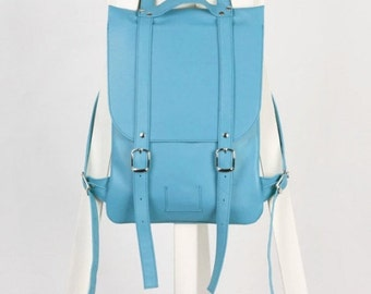 SALE! / Sky-blue leather backpack rucksack / In stock / Sky-blue backpack / Leather backpack / Leather rucksack / Womens backpack / Gift