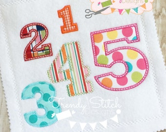 Mini Birthday Numbers Applique Design Machine Embroidery Font BLOCK INSTANT DOWNLOAD 1 2 3 4 5 6 7 8 9 0