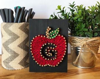Apple String Art - Teachers Apple - Red Apple  - Teachers Gift