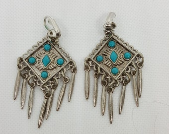 60s Faux Turquoise and Silver Clip Earrings
