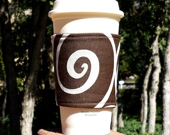 FREE SHIPPING UPGRADE with minimum -  Fabric coffee cozy / cup sleeve / coffee sleeve / coffee cup holder -- Giant swirl on coffee