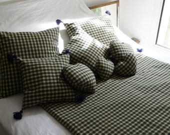 Navy Blue Scottish Plaid cushion covers, yellow and white 35x35cm, 50x50cm, 40x65cm with or without pompon by House aunt CATH