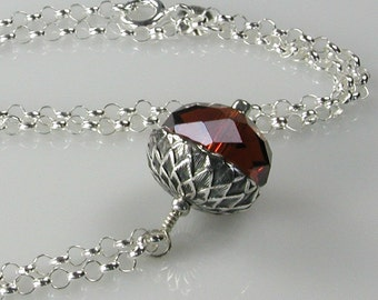 Acorn Pendant Necklace Silver and Crystal