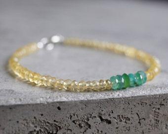 Citrine and green Agate bracelet, gemstone beaded bracelet, November birthstone jewelry, Scorpio birthstone, delicate bracelet, small beads