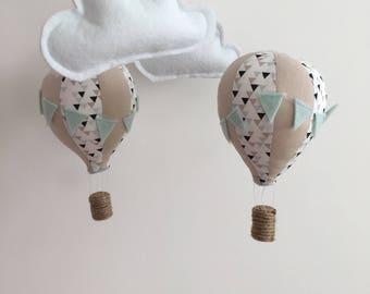 hot air balloon nursery mobile - beige-blue