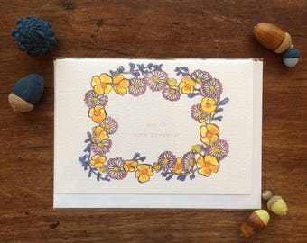 """Card - """"Say it with Flowers"""" - Valentine - Daisies and Buttercups Wreath - Illustration"""
