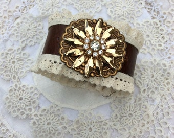 "Brown Leather & Lace Cuff Bracelet with ""Gold"" Brooch  / Item #B1124"