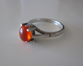 Amber Gemstone vintage sterling silver ring size 7.5