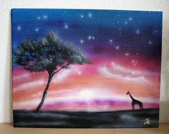 Fantasy Landschaft Gemälde, Giraffe Bild, Afrika Bild, imaginäre Landschaft, Landschaftsbild Sonnenuntergang, Fantasy Kunst